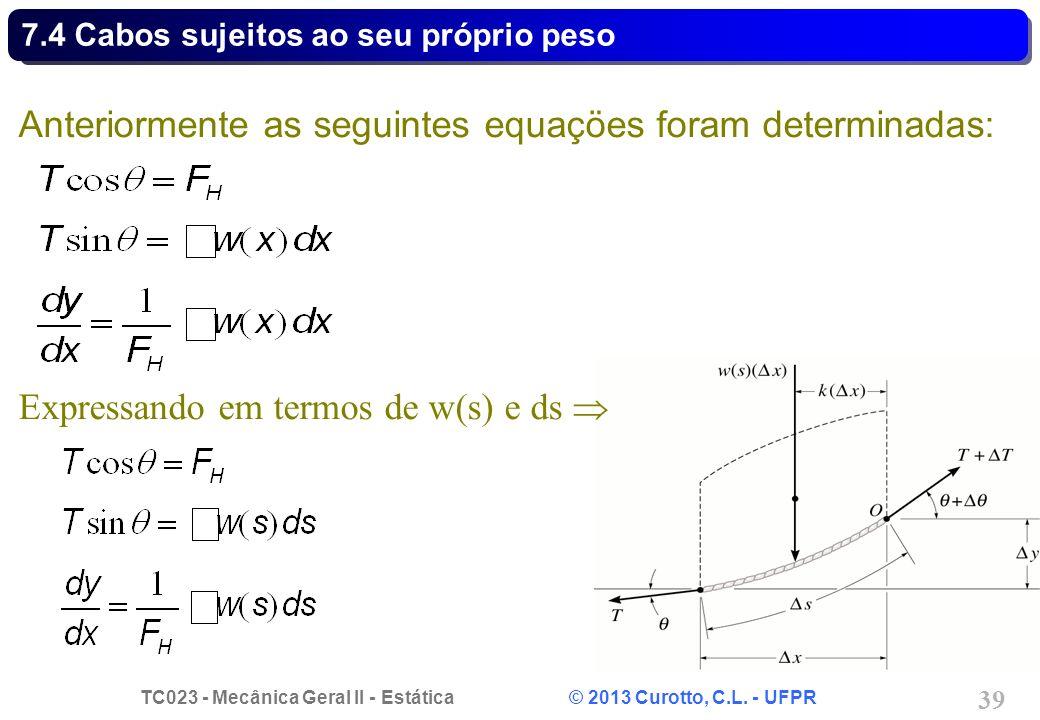 TC023 - Mecânica Geral II - Estática © 2013 Curotto, C.L. - UFPR 39 Anteriormente as seguintes equaçöes foram determinadas: Expressando em termos de w