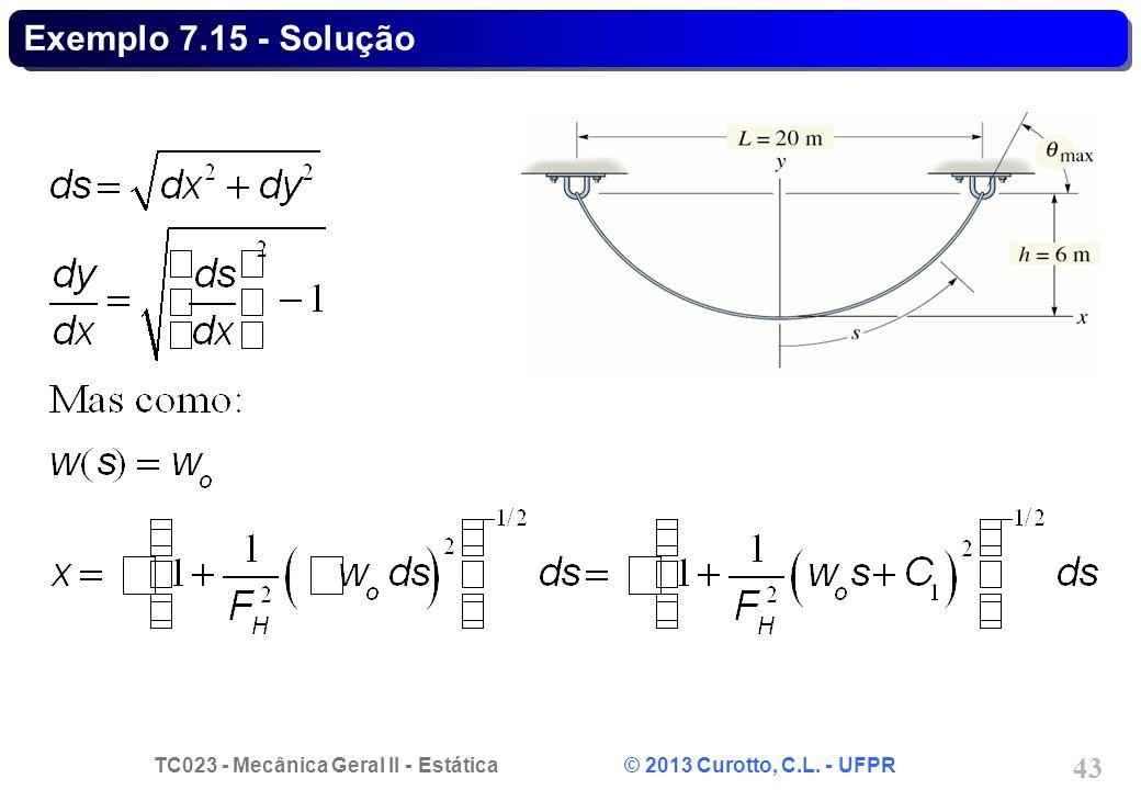 TC023 - Mecânica Geral II - Estática © 2013 Curotto, C.L. - UFPR 43 Exemplo 7.15 - Solução
