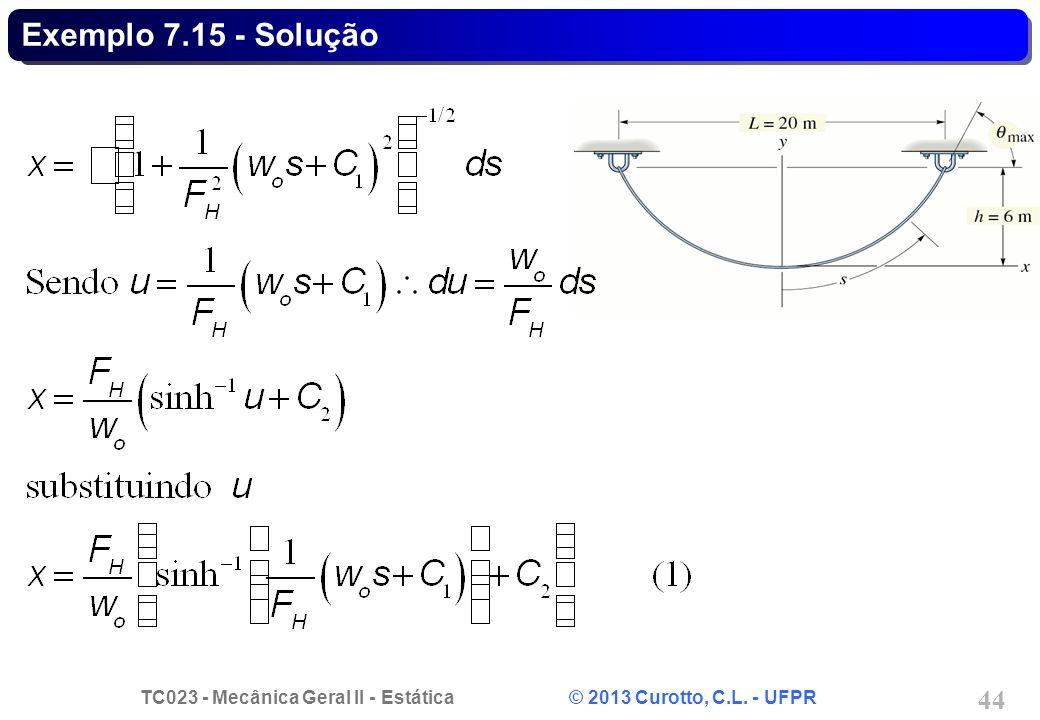 TC023 - Mecânica Geral II - Estática © 2013 Curotto, C.L. - UFPR 44 Exemplo 7.15 - Solução