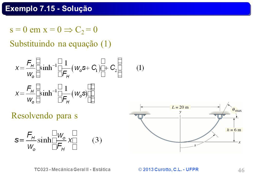 TC023 - Mecânica Geral II - Estática © 2013 Curotto, C.L. - UFPR 46 s = 0 em x = 0 C 2 = 0 Substituindo na equação (1) Resolvendo para s Exemplo 7.15