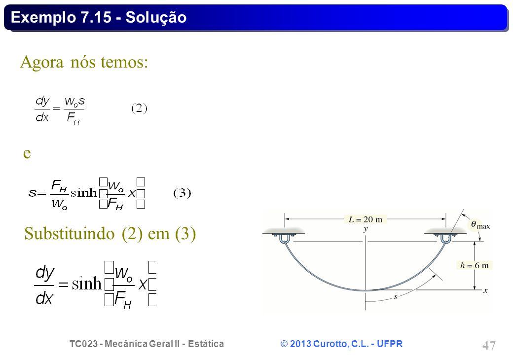 TC023 - Mecânica Geral II - Estática © 2013 Curotto, C.L. - UFPR 47 Agora nós temos: e Substituindo (2) em (3) Exemplo 7.15 - Solução