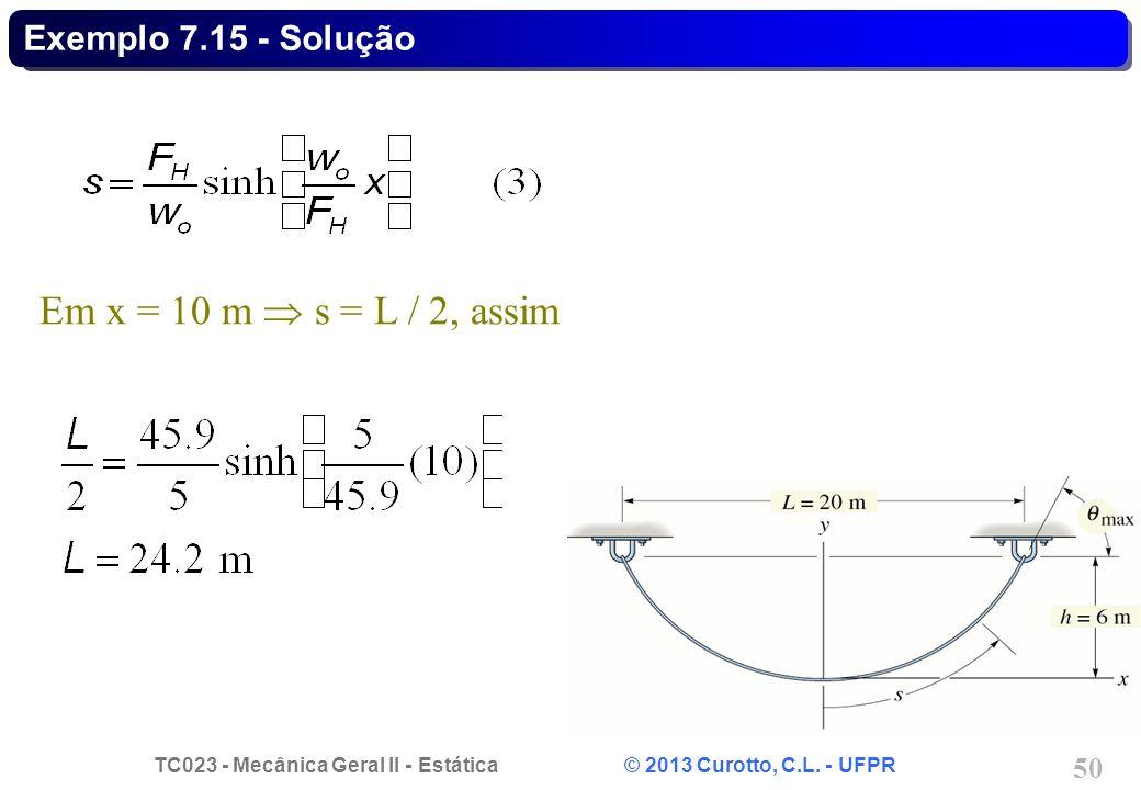 TC023 - Mecânica Geral II - Estática © 2013 Curotto, C.L. - UFPR 50 Em x = 10 m s = L / 2, assim Exemplo 7.15 - Solução