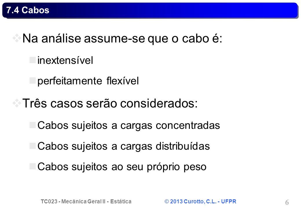 TC023 - Mecânica Geral II - Estática © 2013 Curotto, C.L. - UFPR 6 Na análise assume-se que o cabo é: inextensível perfeitamente flexível Três casos s