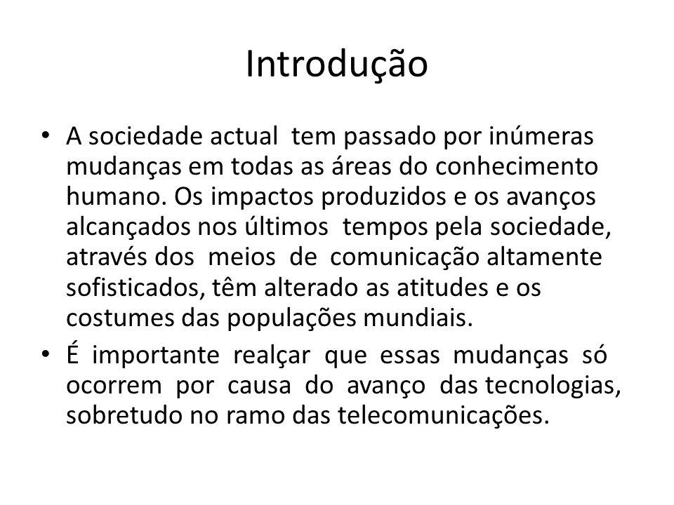 Introdução A sociedade actual tem passado por inúmeras mudanças em todas as áreas do conhecimento humano. Os impactos produzidos e os avanços alcançad