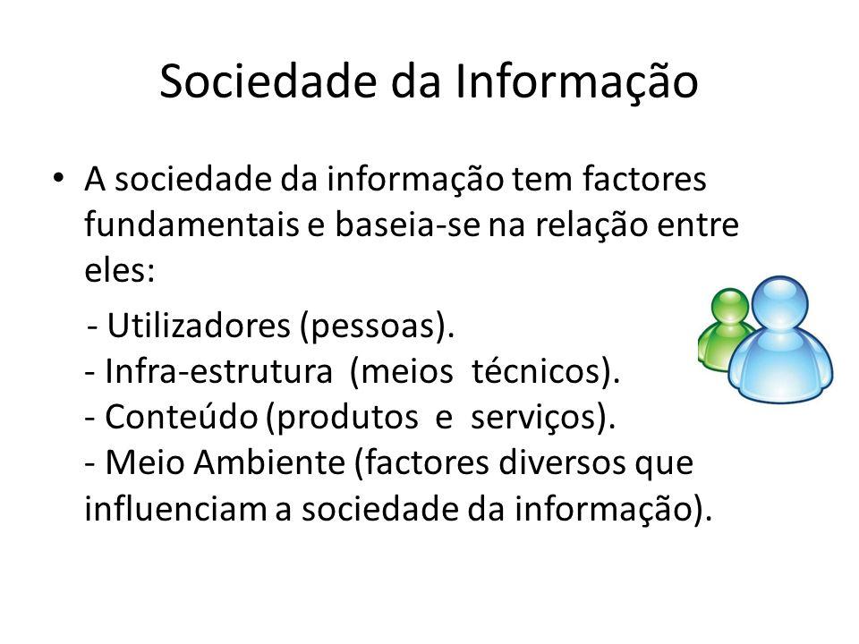 Sociedade da Informação A sociedade da informação tem factores fundamentais e baseia-se na relação entre eles: - Utilizadores (pessoas). - Infra-estru