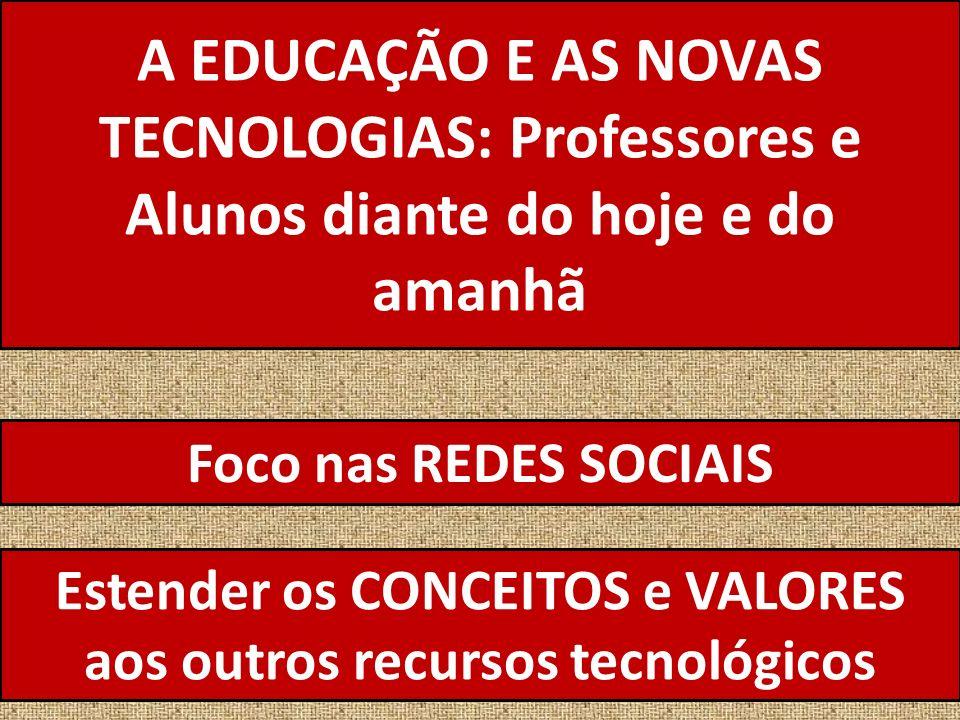 A EDUCAÇÃO E AS NOVAS TECNOLOGIAS: Professores e Alunos diante do hoje e do amanhã Foco nas REDES SOCIAIS Estender os CONCEITOS e VALORES aos outros recursos tecnológicos