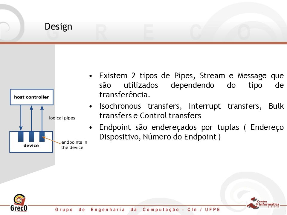 Design Existem 2 tipos de Pipes, Stream e Message que são utilizados dependendo do tipo de transferência. Isochronous transfers, Interrupt transfers,