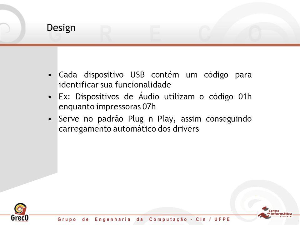 Design Cada dispositivo USB contém um código para identificar sua funcionalidade Ex: Dispositivos de Áudio utilizam o código 01h enquanto impressoras