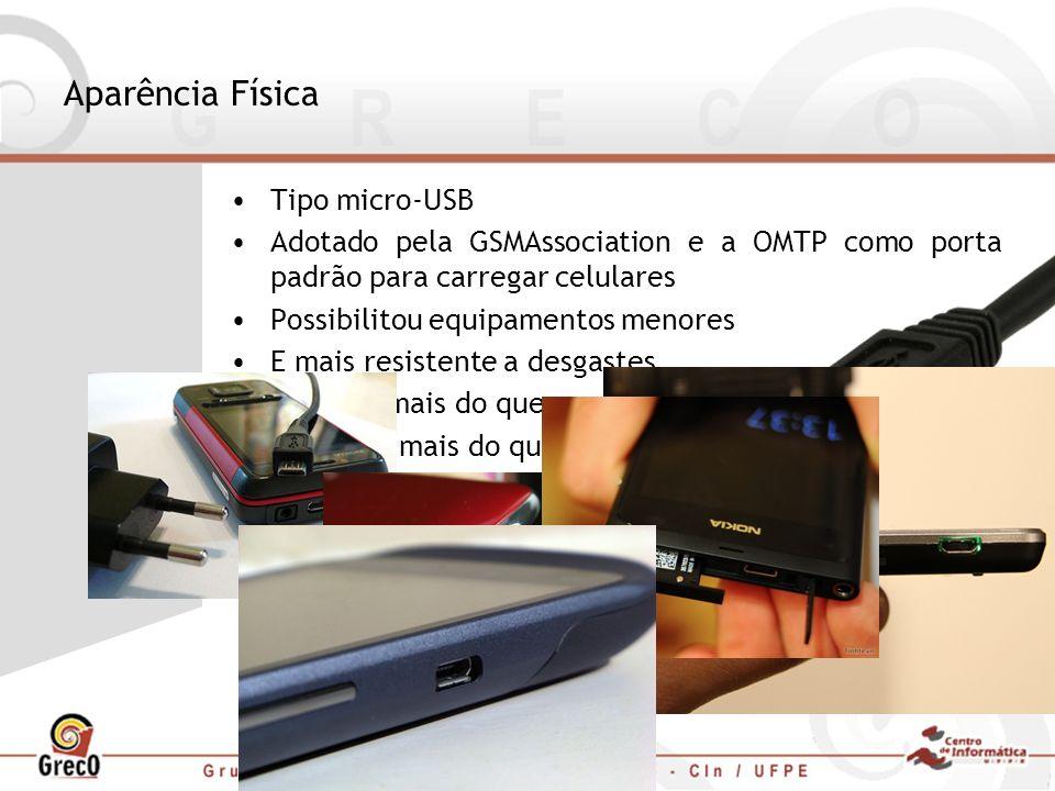 Aparência Física Tipo micro-USB Adotado pela GSMAssociation e a OMTP como porta padrão para carregar celulares Possibilitou equipamentos menores E mai