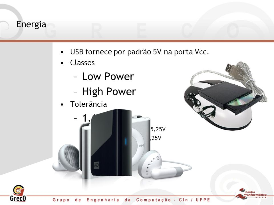 Energia USB fornece por padrão 5V na porta Vcc. Classes –Low Power –High Power Tolerância –1.1 e 2.0 High power: 4,75V – 5,25V Low power: 4,4V – 5,25V