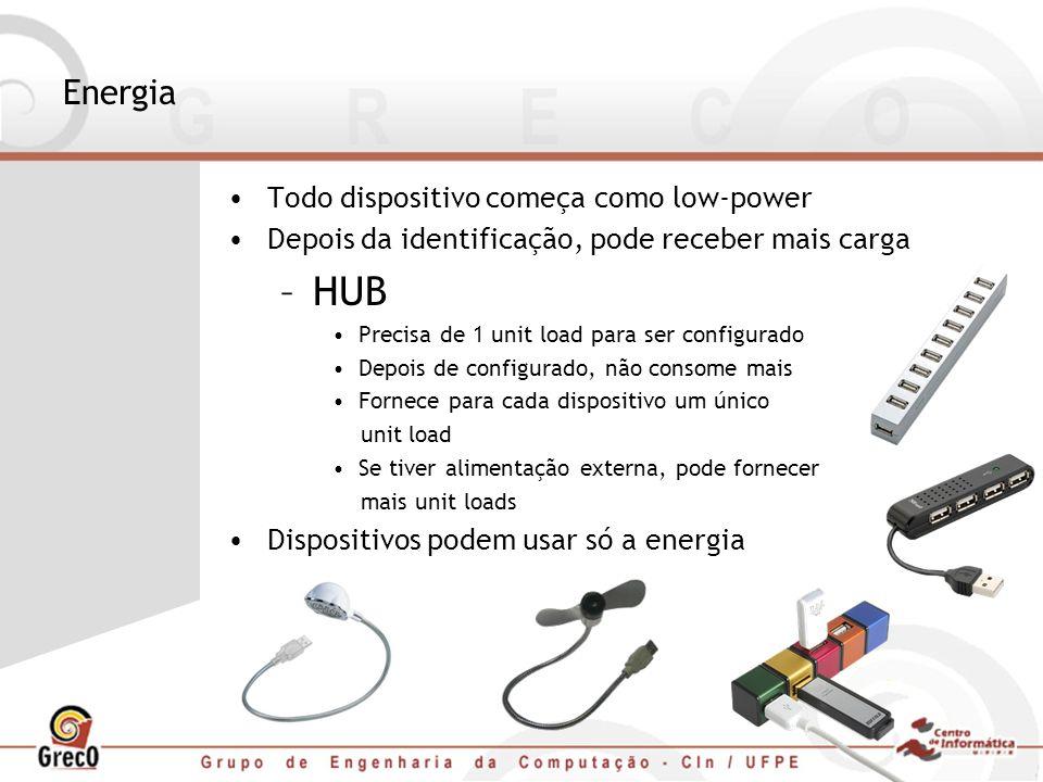 Energia Todo dispositivo começa como low-power Depois da identificação, pode receber mais carga –HUB Precisa de 1 unit load para ser configurado Depoi