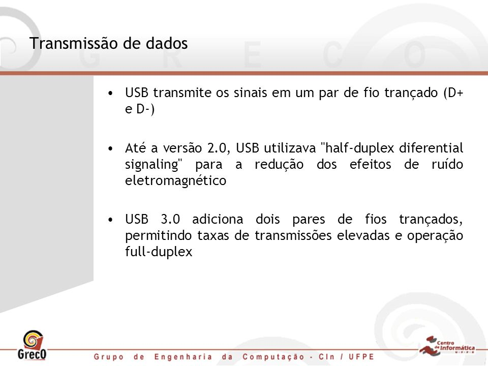 Transmissão de dados USB transmite os sinais em um par de fio trançado (D+ e D-) Até a versão 2.0, USB utilizava