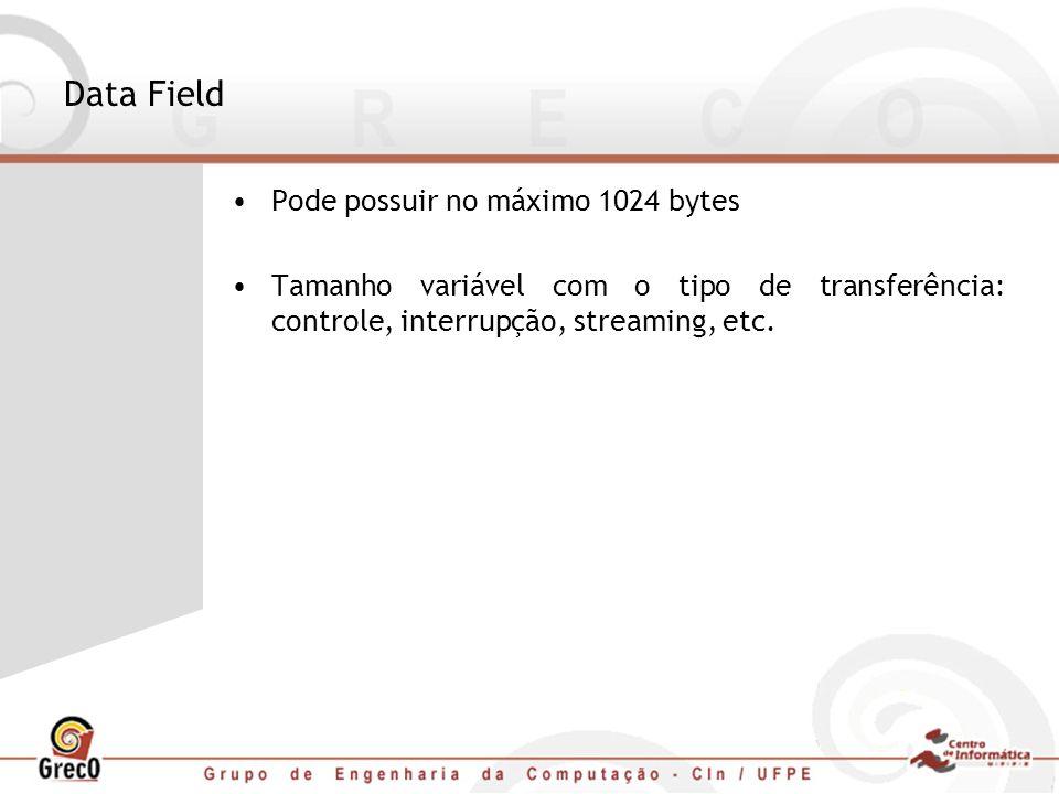 Data Field Pode possuir no máximo 1024 bytes Tamanho variável com o tipo de transferência: controle, interrupção, streaming, etc.