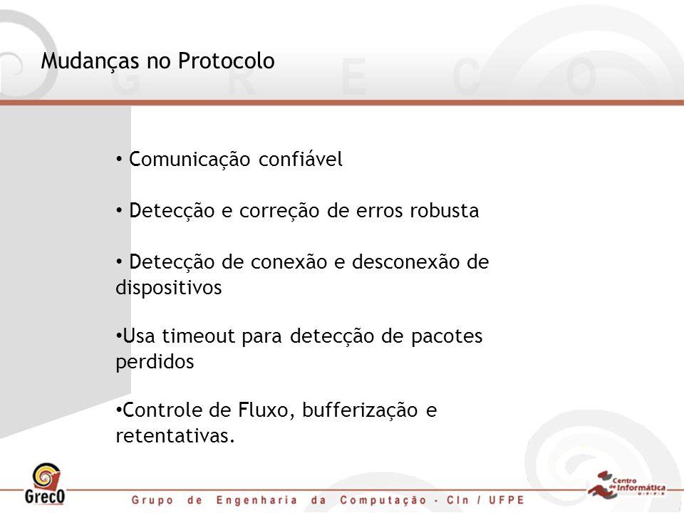 Mudanças no Protocolo Comunicação confiável Detecção e correção de erros robusta Detecção de conexão e desconexão de dispositivos Usa timeout para det
