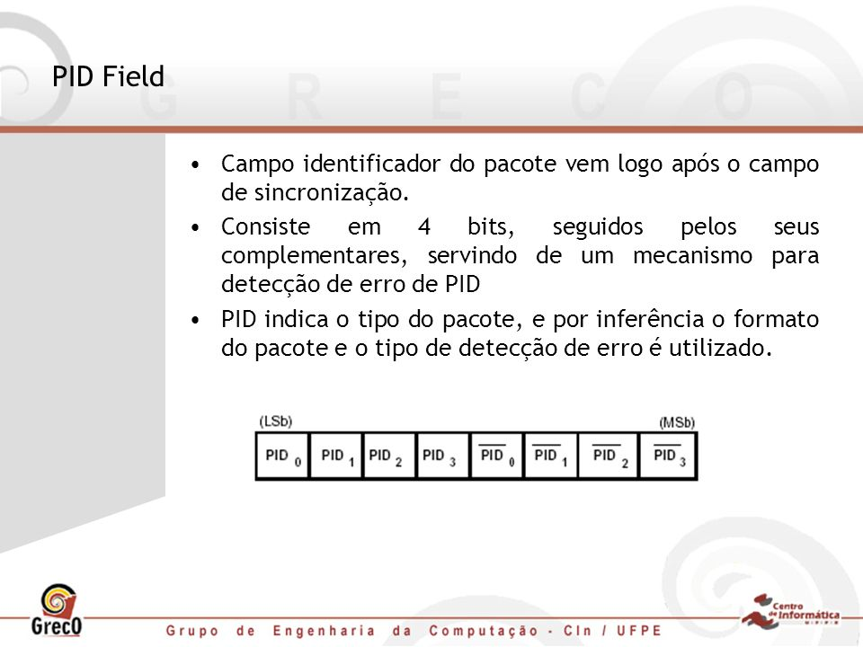 PID Field Campo identificador do pacote vem logo após o campo de sincronização. Consiste em 4 bits, seguidos pelos seus complementares, servindo de um