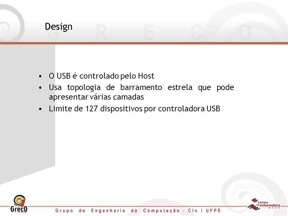Design O USB é controlado pelo Host Usa topologia de barramento estrela que pode apresentar várias camadas Limite de 127 dispositivos por controladora