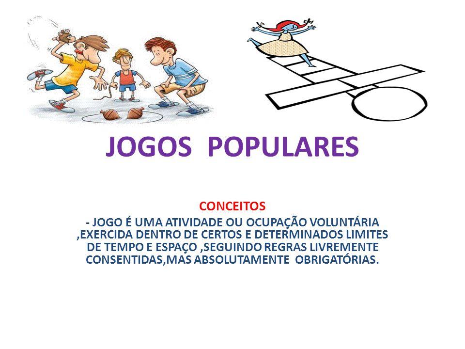 JOGOS POPULARES CONCEITOS - JOGO É UMA ATIVIDADE OU OCUPAÇÃO VOLUNTÁRIA,EXERCIDA DENTRO DE CERTOS E DETERMINADOS LIMITES DE TEMPO E ESPAÇO,SEGUINDO REGRAS LIVREMENTE CONSENTIDAS,MAS ABSOLUTAMENTE OBRIGATÓRIAS.