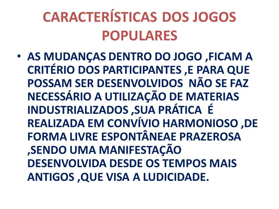 TIPOS DE JOGOS POPULARES ACADEMIA OU AMARELINHA QUEIMADO CABO DE GUERRA ESCONDE – ESCONDE (31 ALERTA) BARRA BANDEIRA BOCA DE FORNO TA PRONTO SEU LÔBO ESCONDE A PEIA CABRA CEGA QUEBRA PANELA BOLA DE GUDE