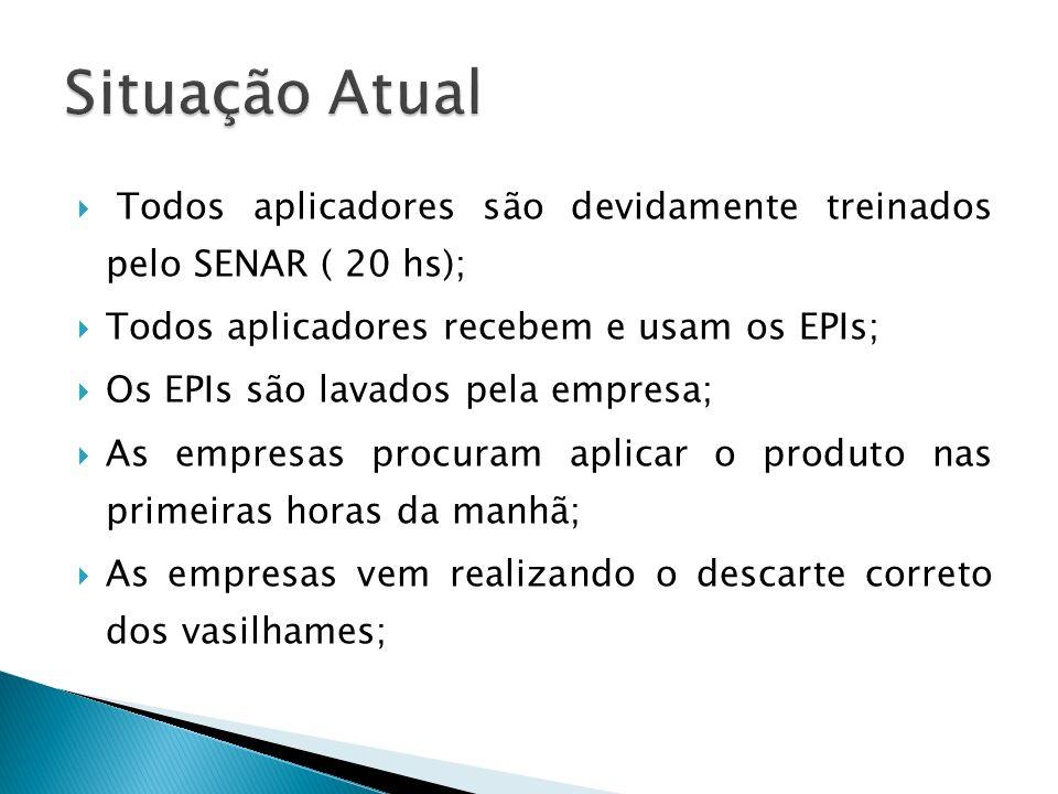 Todos aplicadores são devidamente treinados pelo SENAR ( 20 hs); Todos aplicadores recebem e usam os EPIs; Os EPIs são lavados pela empresa; As empres