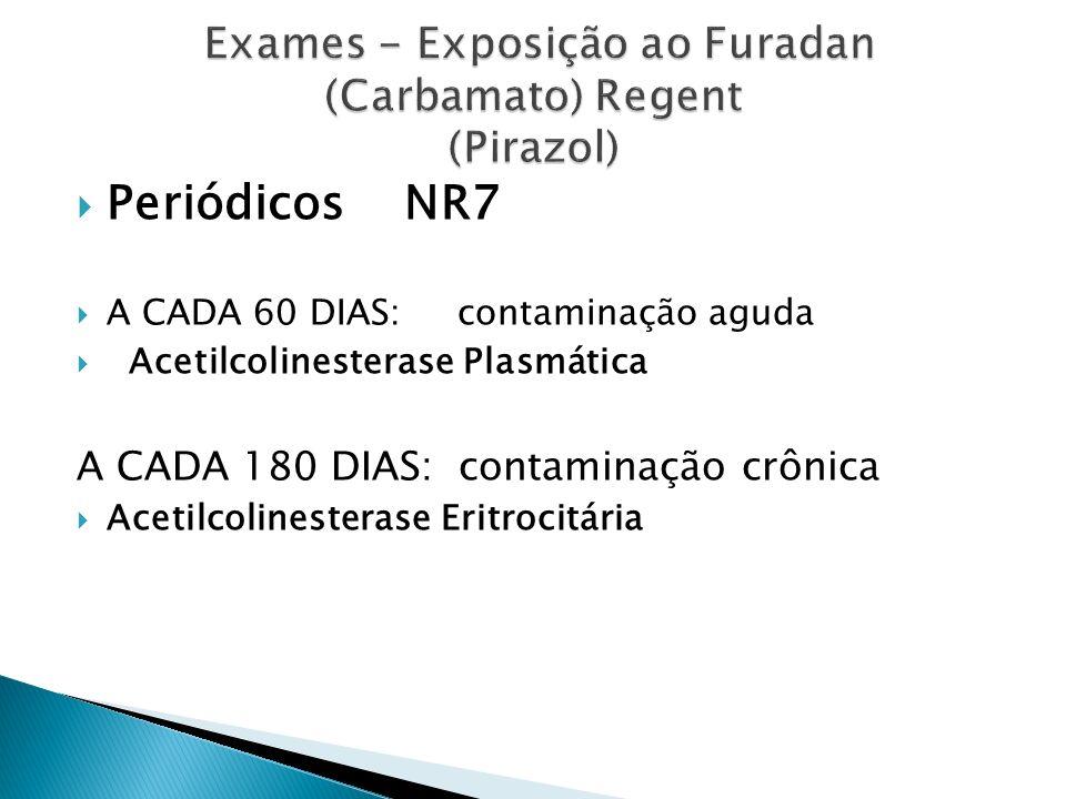 Periódicos NR7 A CADA 60 DIAS: contaminação aguda Acetilcolinesterase Plasmática A CADA 180 DIAS: contaminação crônica Acetilcolinesterase Eritrocitár