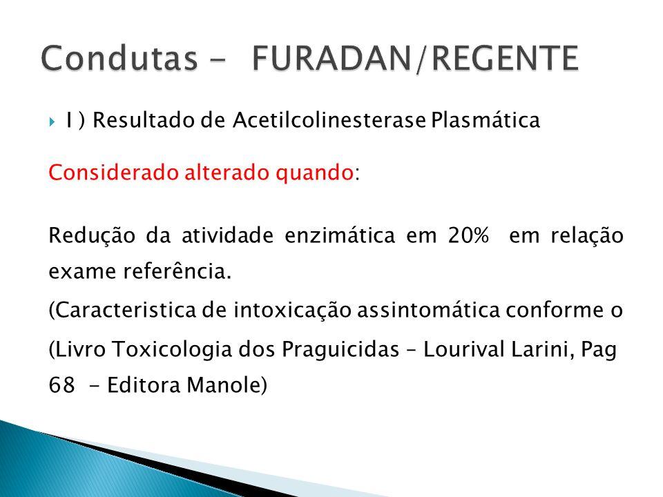I ) Resultado de Acetilcolinesterase Plasmática Considerado alterado quando: Redução da atividade enzimática em 20% em relação exame referência. (Cara