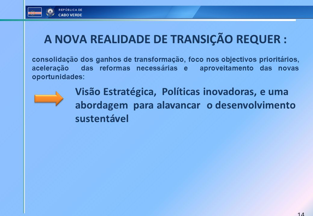 14 A NOVA REALIDADE DE TRANSIÇÃO REQUER : consolidação dos ganhos de transformação, foco nos objectivos prioritários, aceleração das reformas necessár