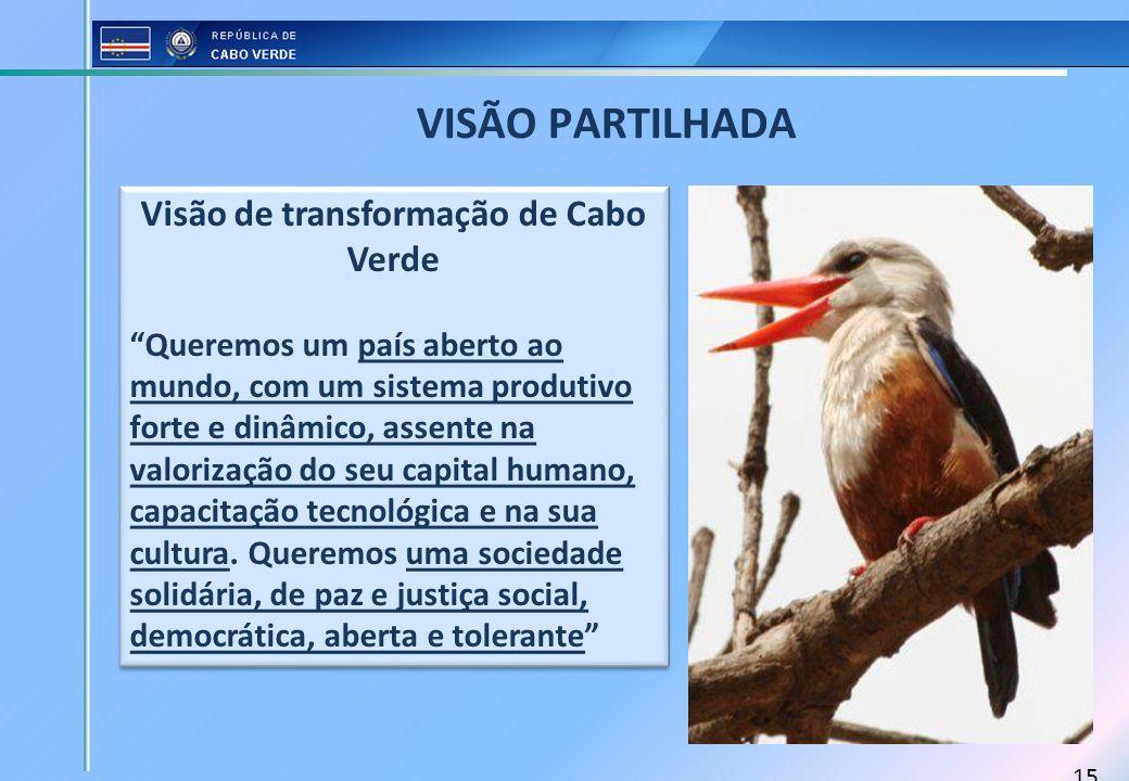15 VISÃO PARTILHADA Visão de transformação de Cabo Verde Queremos um país aberto ao mundo, com um sistema produtivo forte e dinâmico, assente na valor