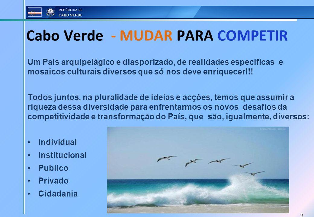 2 Cabo Verde - MUDAR PARA COMPETIR Um País arquipelágico e diasporizado, de realidades especificas e mosaicos culturais diversos que só nos deve enriq