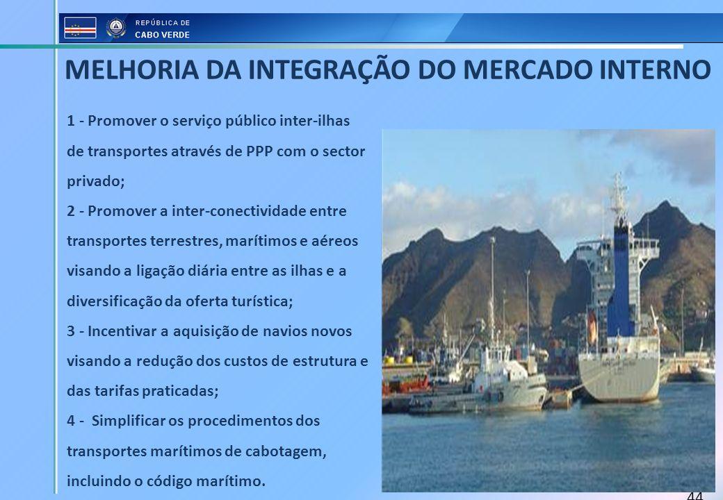 44 1 - Promover o serviço público inter-ilhas de transportes através de PPP com o sector privado; 2 - Promover a inter-conectividade entre transportes
