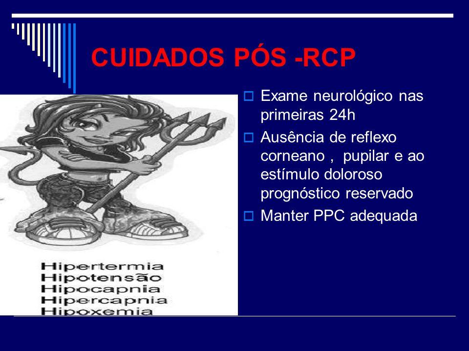 CUIDADOS PÓS -RCP Exame neurológico nas primeiras 24h Ausência de reflexo corneano, pupilar e ao estímulo doloroso prognóstico reservado Manter PPC ad