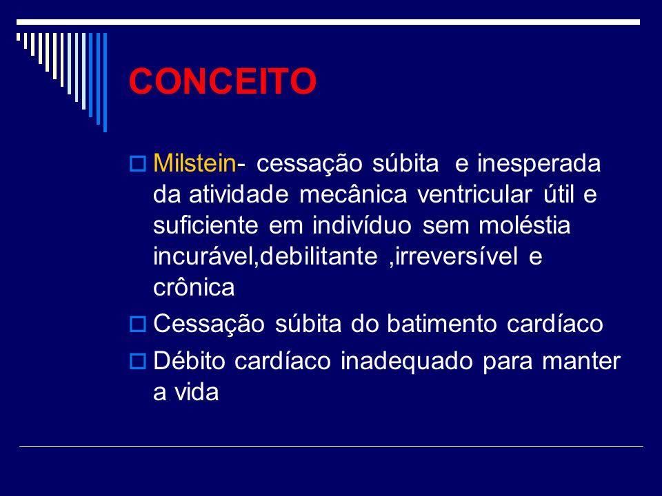 CONCEITO Milstein- cessação súbita e inesperada da atividade mecânica ventricular útil e suficiente em indivíduo sem moléstia incurável,debilitante,ir