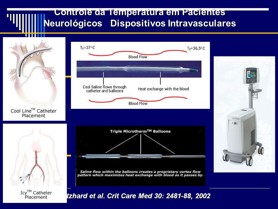 Controle da Temperatura em Pacientes Neurológicos Dispositivos Intravasculares Schmutzhard et al. Crit Care Med 30: 2481-88, 2002