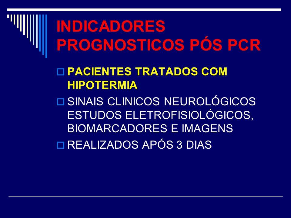 INDICADORES PROGNOSTICOS PÓS PCR PACIENTES TRATADOS COM HIPOTERMIA SINAIS CLINICOS NEUROLÓGICOS ESTUDOS ELETROFISIOLÓGICOS, BIOMARCADORES E IMAGENS RE