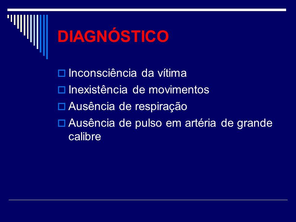 DIAGNÓSTICO Inconsciência da vítima Inexistência de movimentos Ausência de respiração Ausência de pulso em artéria de grande calibre