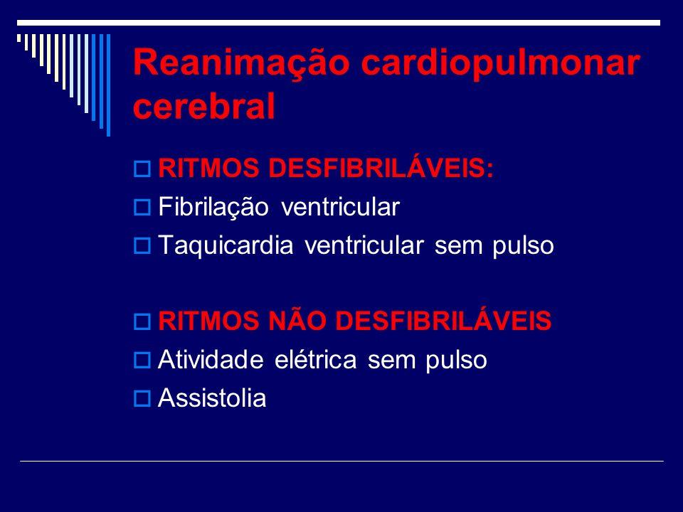Reanimação cardiopulmonar cerebral RITMOS DESFIBRILÁVEIS: Fibrilação ventricular Taquicardia ventricular sem pulso RITMOS NÃO DESFIBRILÁVEIS Atividade