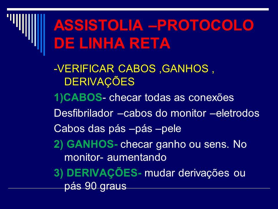 ASSISTOLIA –PROTOCOLO DE LINHA RETA -VERIFICAR CABOS,GANHOS, DERIVAÇÕES 1)CABOS- checar todas as conexões Desfibrilador –cabos do monitor –eletrodos C
