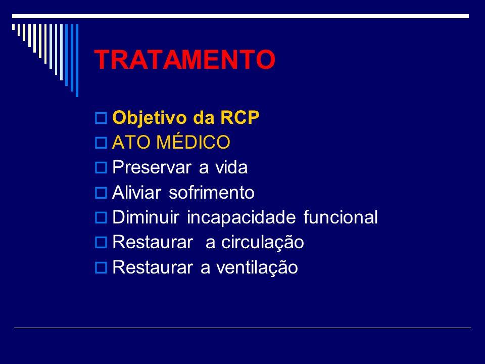 TRATAMENTO Objetivo da RCP ATO MÉDICO Preservar a vida Aliviar sofrimento Diminuir incapacidade funcional Restaurar a circulação Restaurar a ventilaçã