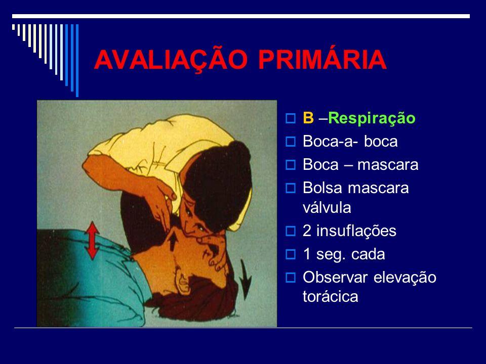 AVALIAÇÃO PRIMÁRIA B –Respiração Boca-a- boca Boca – mascara Bolsa mascara válvula 2 insuflações 1 seg. cada Observar elevação torácica
