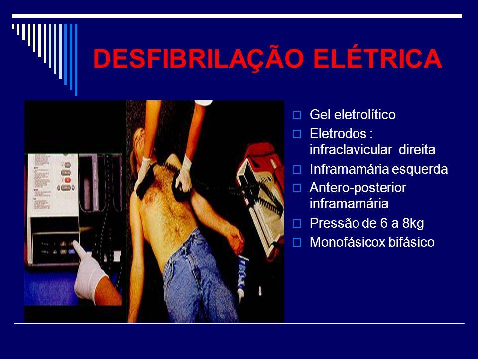DESFIBRILAÇÃO ELÉTRICA Gel eletrolítico Eletrodos : infraclavicular direita Inframamária esquerda Antero-posterior inframamária Pressão de 6 a 8kg Mon