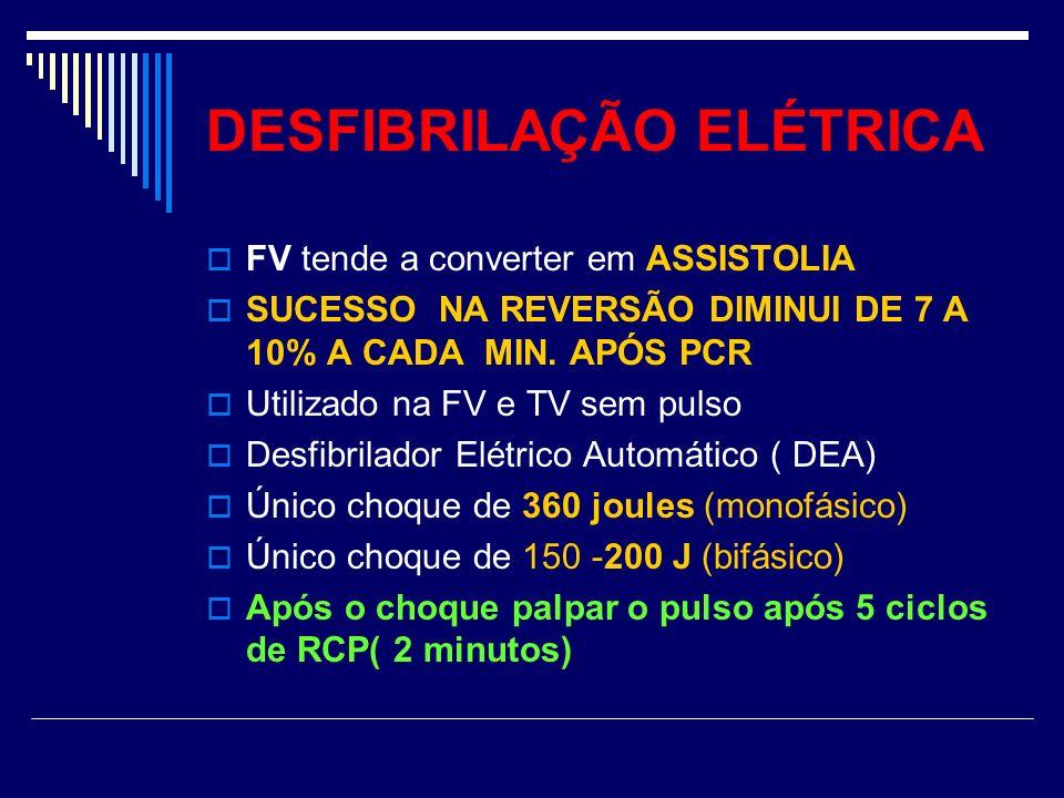 DESFIBRILAÇÃO ELÉTRICA FV tende a converter em ASSISTOLIA SUCESSO NA REVERSÃO DIMINUI DE 7 A 10% A CADA MIN. APÓS PCR Utilizado na FV e TV sem pulso D