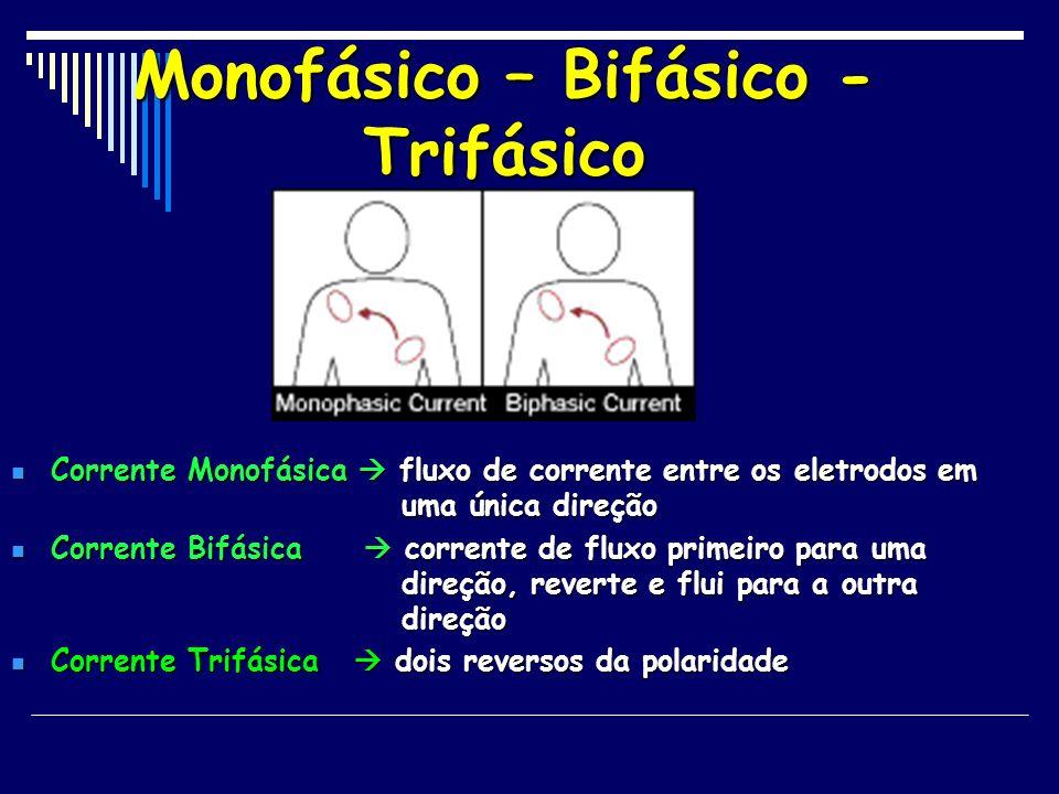 Monofásico – Bifásico - Trifásico Corrente Monofásica fluxo de corrente entre os eletrodos em uma única direção Corrente Monofásica fluxo de corrente