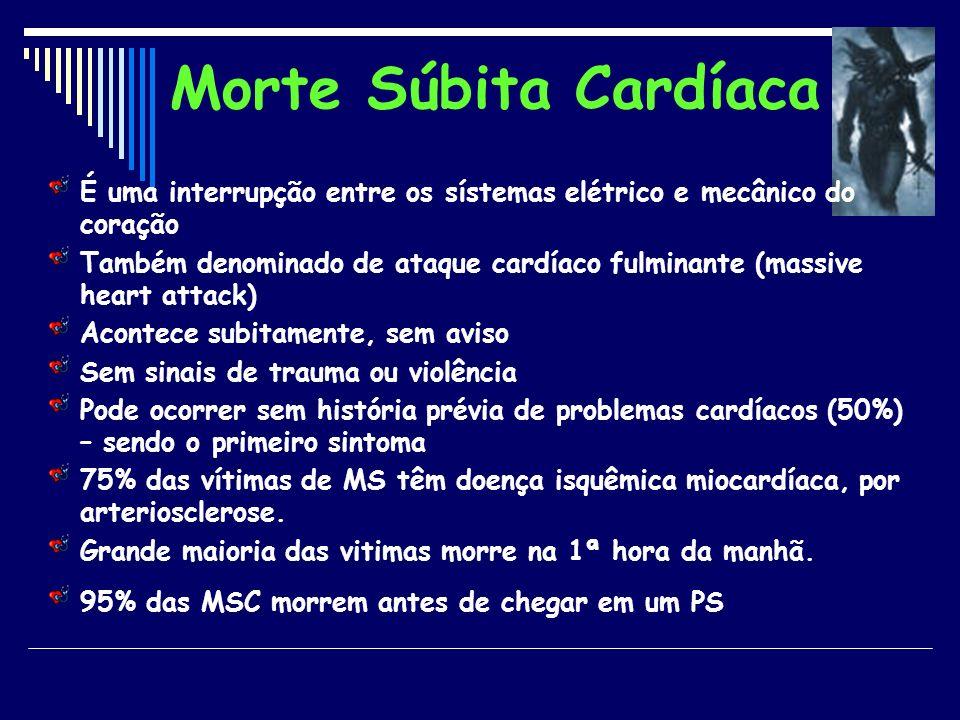 Morte Súbita Cardíaca É uma interrupção entre os sístemas elétrico e mecânico do coração Também denominado de ataque cardíaco fulminante (massive hear