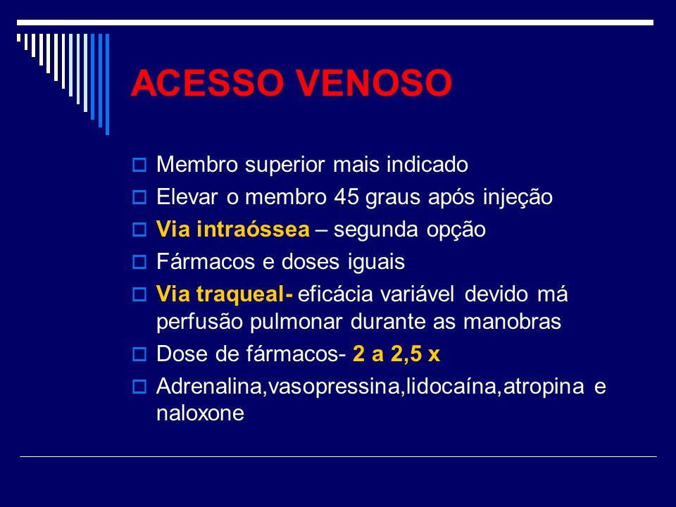 ACESSO VENOSO Membro superior mais indicado Elevar o membro 45 graus após injeção Via intraóssea – segunda opção Fármacos e doses iguais Via traqueal-