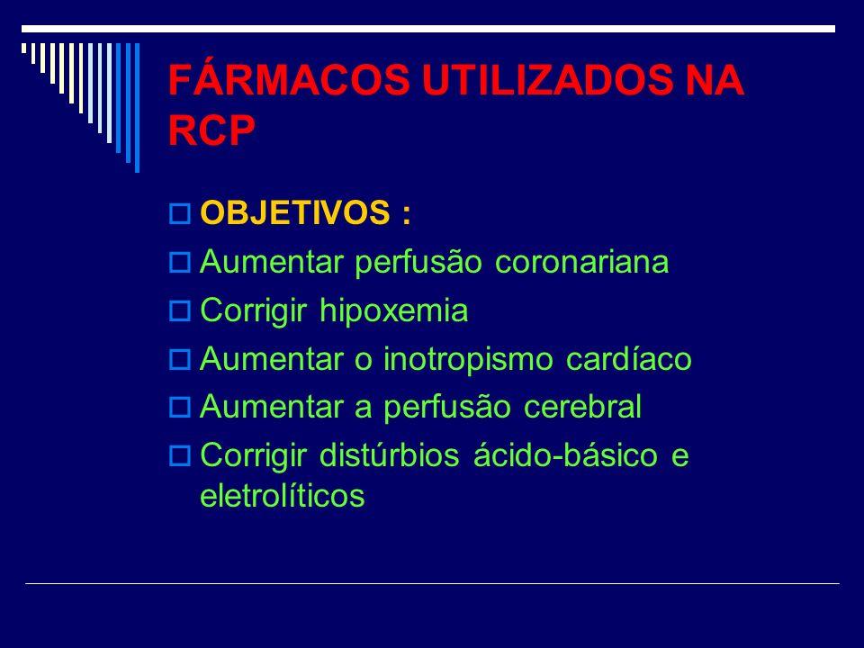 FÁRMACOS UTILIZADOS NA RCP OBJETIVOS : Aumentar perfusão coronariana Corrigir hipoxemia Aumentar o inotropismo cardíaco Aumentar a perfusão cerebral C