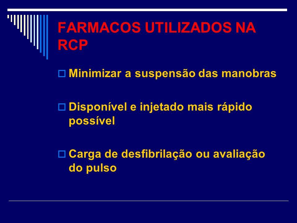 FARMACOS UTILIZADOS NA RCP Minimizar a suspensão das manobras Disponível e injetado mais rápido possível Carga de desfibrilação ou avaliação do pulso