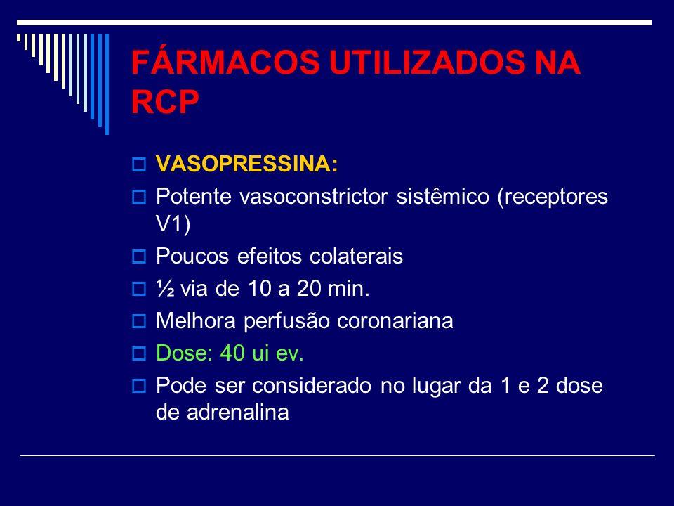 FÁRMACOS UTILIZADOS NA RCP VASOPRESSINA: Potente vasoconstrictor sistêmico (receptores V1) Poucos efeitos colaterais ½ via de 10 a 20 min. Melhora per