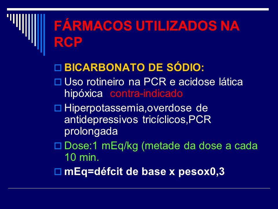 FÁRMACOS UTILIZADOS NA RCP BICARBONATO DE SÓDIO: Uso rotineiro na PCR e acidose lática hipóxica contra-indicado Hiperpotassemia,overdose de antidepres