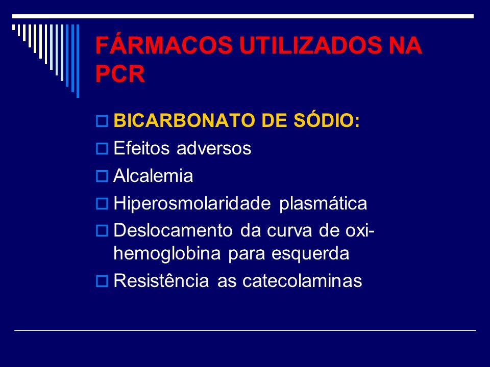 FÁRMACOS UTILIZADOS NA PCR BICARBONATO DE SÓDIO: Efeitos adversos Alcalemia Hiperosmolaridade plasmática Deslocamento da curva de oxi- hemoglobina par