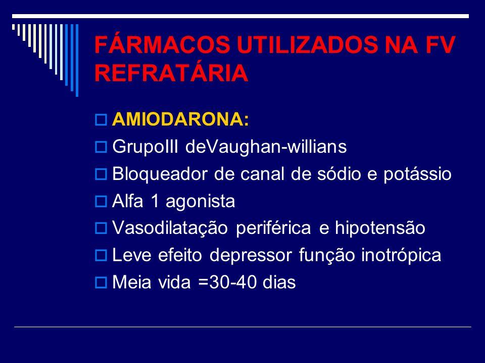 FÁRMACOS UTILIZADOS NA FV REFRATÁRIA AMIODARONA: GrupoIII deVaughan-willians Bloqueador de canal de sódio e potássio Alfa 1 agonista Vasodilatação per