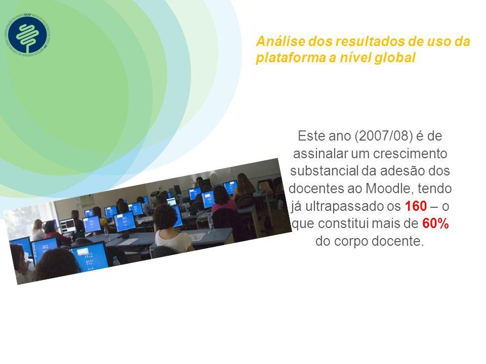 Análise dos resultados de uso da plataforma a nível global Este ano (2007/08) é de assinalar um crescimento substancial da adesão dos docentes ao Mood